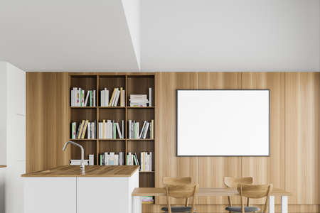 Interior of modern kitchen with white and wooden walls, white island, comfortable dining table, bookcase and horizontal mock up poster frame. 3d rendering