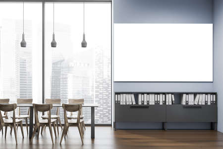Interior of stylish office cafe with blue walls, wooden floor, gray dining table with wooden chairs and horizontal mock up poster hanging above shelves with folders. Blurry cityscape. 3d rendering