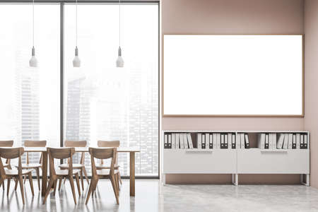 Interior of modern office cafe with pink walls, concrete floor, dining table with wooden chairs and horizontal mock up poster hanging above shelves with folders. Blurry cityscape. 3d rendering