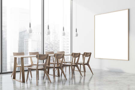 Corner of stylish office cafe with white walls, concrete floor, long dining table with wooden chairs and vertical mock up poster hanging near window with blurry cityscape. 3d rendering