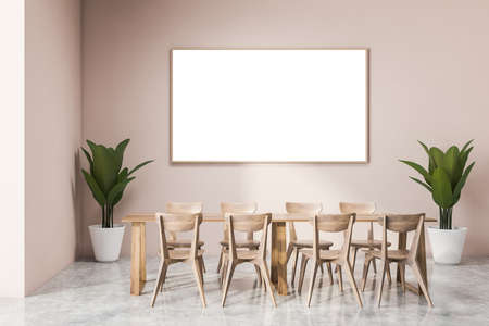 Interior of modern office cafe with pink walls, concrete floor, dining table with wooden chairs and horizontal mock up poster. 3d rendering Reklamní fotografie