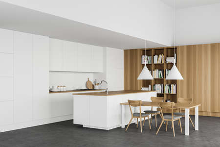 Corner of modern kitchen with white and wooden walls, concrete floor, white countertops, comfortable island, dining table and bookcase. 3d rendering