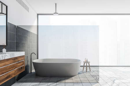 Side veiw of luxury bathroom with white and black walls, marble floor, comfortable bathtub and double sink with mirror on wooden counter. 3d rendering