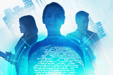 Three business people working together in blurry abstract city with double exposure of planet hologram and network interface. Toned image