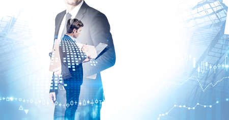 Two managers working together in modern city with double exposure of blurry digital graph. Concept of leadership. Toned image 免版税图像 - 153371537