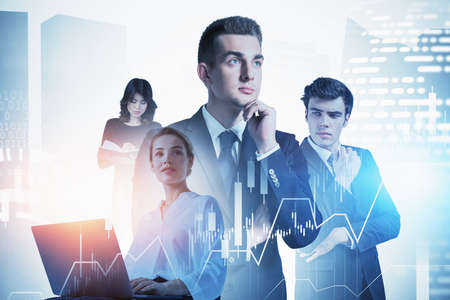 Portrait of four business people working together in blurry abstract city with double exposure of financial charts. Toned image 免版税图像 - 153371539