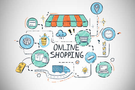 Bright online shopping sketch drawn on concrete wall background. Concept of e commerce. 3d rendering