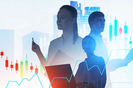 Portrait of three traders in blurry abstract city with double exposure of financial chart. Toned image