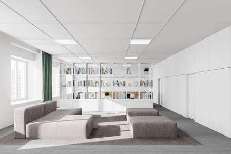 Interior of stylish office waiting room with white walls, carpeted floor, gray sofa and bookcase. 3d rendering