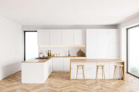 Interior of modern kitchen with white and brick walls, wooden floor, white cupboards and bar with stools. 3d rendering