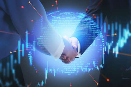 Close up of two unrecognizable businessmen shaking hands in blurry room with double exposure of chart and planet hologram. Concept of partnership. Toned image