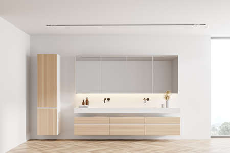 Interior of modern bathroom with white walls, wooden floor, big window and double sink standing on wooden cabinet. 3d rendering