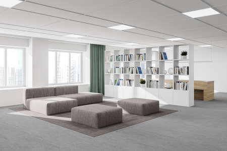 Corner of modern office waiting room with white walls, carpeted floor, gray sofa and bookcase. 3d rendering