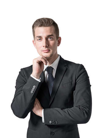 Isolated portrait of pensive young European businessman. Concept of management and decision making