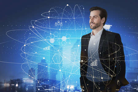 Portrait of confident young businessman standing in blurry night city with double exposure of network interface. Toned image. Elements of this image furnished by NASA Stock fotó