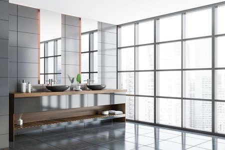 Comfortable double sink standing in modern bathroom corner with gray tile walls and concrete floor. 3d rendering Stock fotó