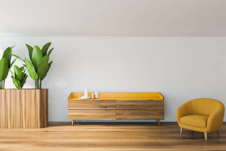 Interior of stylish living room with white walls, wooden floor, yellow armchair and cabinet. 3d rendering Foto de archivo