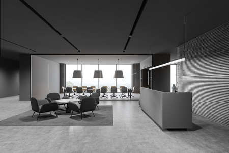 Side view of modern office waiting room with gray and wooden walls, concrete floor, gray reception desk and round coffee table with armchairs. 3d rendering
