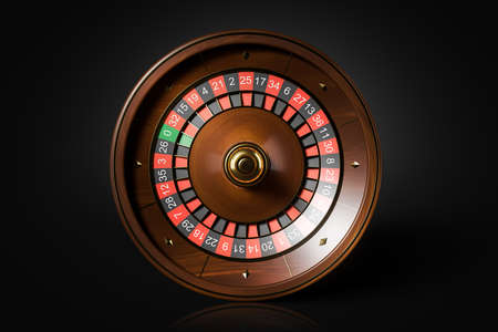Top view wooden roulette wheel over black background. Concept of chance and gambling. 3d rendering