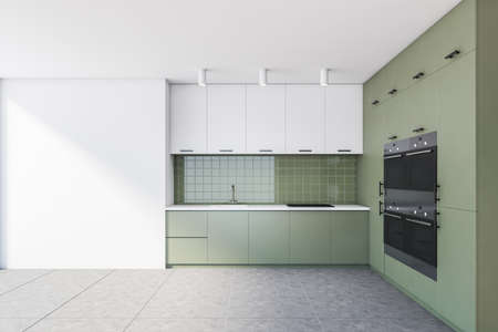 Interior of stylish kitchen with white and green walls, tiled floor and green cabinets with built in items. 3d rendering