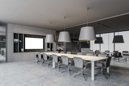Corner of modern office meeting room with gray and wooden walls, concrete floor, long conference table and horizontal mock up poster. 3d rendering