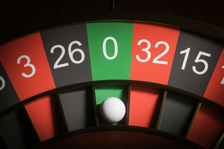 Top view of roulette wheel with ball on zero. Concept of chance and gambling. 3d rendering