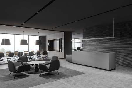 Corner of modern office waiting room with gray and wooden walls, concrete floor, gray reception desk and round coffee table with armchairs. 3d rendering