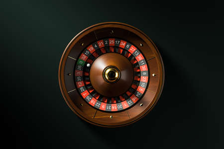 Top view roulette wheel with ball on zero over black background. Concept of chance and gambling. 3d rendering Archivio Fotografico