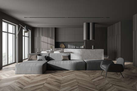 Interior of modern living room with gray and wooden walls, wooden floor, gray armchair and sofa and kitchen in background. 3d rendering Stockfoto