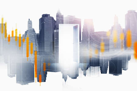Open door in blurry city with double exposure of financial charts. Concept of stock market and opportunity. Toned image Standard-Bild
