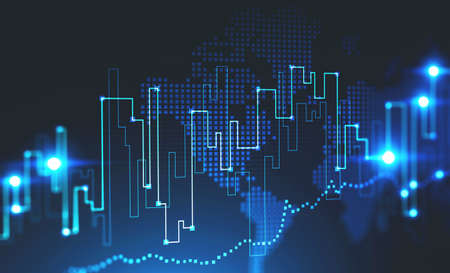 Graph and world map hologram over dark blue background. Concept of trading and financial market. Toned image double exposure