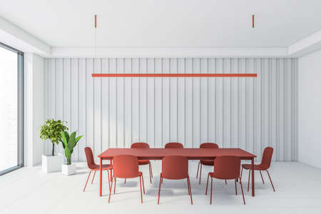 Interior of modern dining room with white walls and floor, big window and red table with chairs. 3d rendering 版權商用圖片