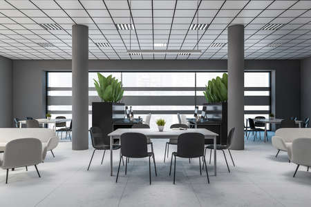 Interior of modern office waiting room with gray walls, concrete floor and comfortable white sofas and armchairs standing near coffee tables. 3d rendering Banque d'images