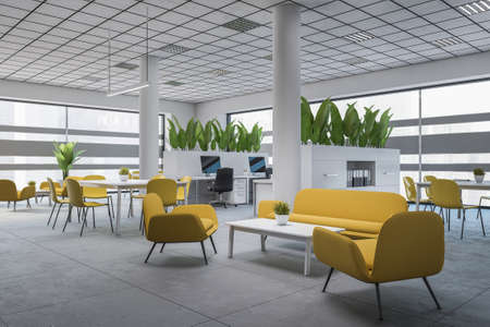 Corner of stylish office waiting room with white walls, tiled floor and comfortable yellow sofas and armchairs standing near coffee tables. 3d rendering Banque d'images