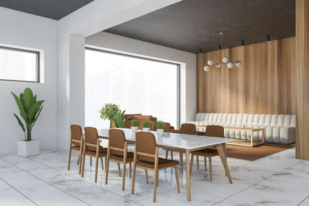 Corner of modern dining room with white and wooden walls, marble floor, long table with brown chairs and white sofa. 3d rendering