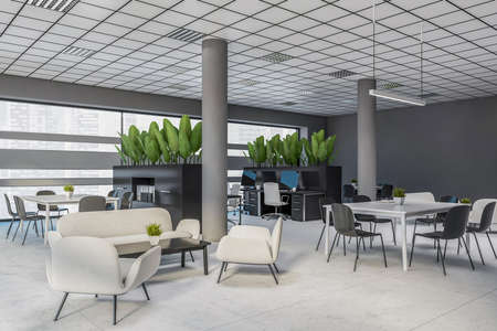 Corner of panoramic office waiting room with gray walls, concrete floor and comfortable white sofas and armchairs standing near coffee tables. 3d rendering