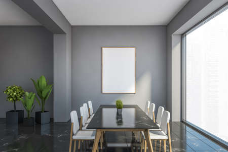 Interior of stylish dining room with gray walls, black marble floor and long table with white chairs. Vertical mock up poster. 3d rendering