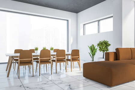 Corner of modern dining room with white and wooden walls, marble floor, long table with brown chairs and sofa. 3d rendering 版權商用圖片