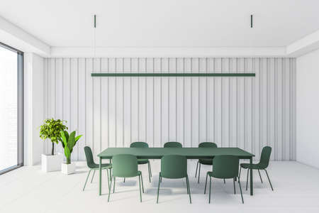 Interior of modern dining room with white walls and floor, big window and green table with chairs. 3d rendering