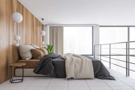 Bed with linens on the second floor in a minimalist wooden and white hall, 3D rendering illustration of a sleeping bed rest room zone with no people, big window with city view Banque d'images