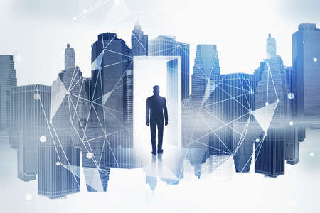 Silhouette of businessman in doorway in city with double exposure of network interface. Toned image Standard-Bild