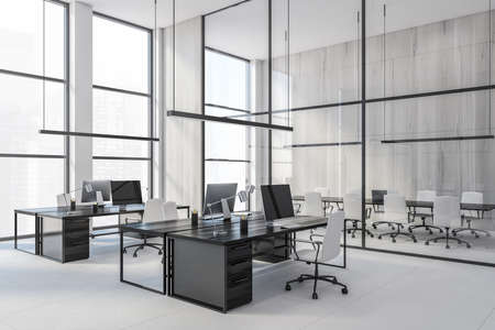 Glass conference room and black office tables with computers, bright white business room with big windows, view on the city skyscrapers no people, 3D rendering
