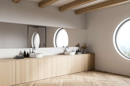 Corner of modern loft bathroom with white walls, wooden floor and double sink with mirror. 3d rendering