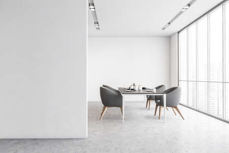 Gray chairs in dining room, mockup copy space white wall. Large dining room near big window with city view, marble floor 3D rendering, no people Banque d'images