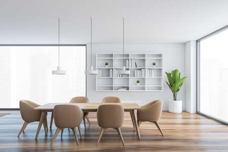 White and wooden hall, brown chairs and table with big windows with city view. White bookshelf and plant in open space hall in modern flat 3D rendering Banque d'images