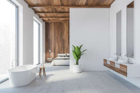 White living room with luxury bathtub and two sinks, bed against wooden wall. Open space studio apartment with big windows, white and wooden flat apartment studio 3D rendering, no people