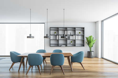 White and wooden hall, blue chairs and table with big windows with city view. Gray bookshelf and plant in open space hall in modern flat 3D rendering, no people
