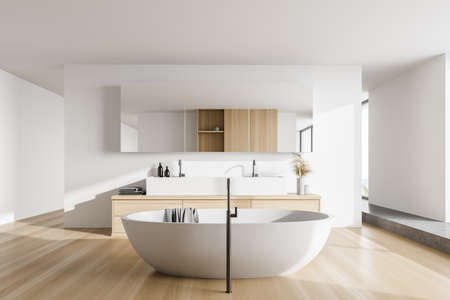 Interior of stylish bathroom with white and wooden walls, wooden floor, comfortable bathtub and sink. 3d rendering