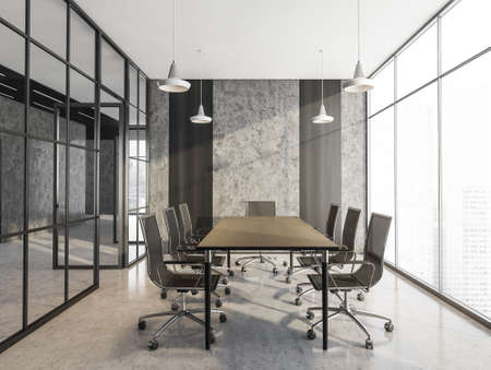 Gray conference room with black armchairs and wooden table. Office minimalist furniture, near window in business office, 3D rendering no people