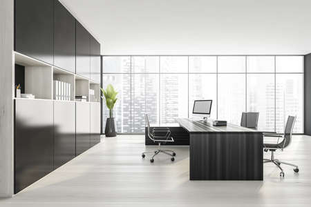 Dark wall office room with table and desktop computer, side view, armchairs on white parquet floor. Shelf with business files, plant with city view. 3D rendering, no people Standard-Bild